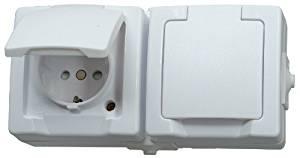 Aufputzsteckdosen braun IP44 Steckdose Schuko Schalter Feuchtraum Außenbereich