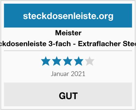 Meister Steckdosenleiste 3-fach - Extraflacher Stecker Test