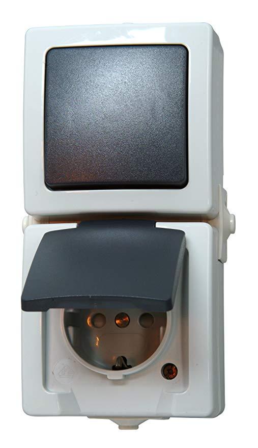 Kopp Nautic Steckdose und Schalter Kombination für Feuchtraum