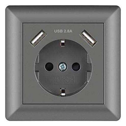 Sasudose USB Steckdose Grau